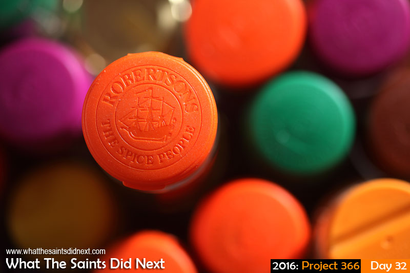 'Stand tall' 1 Feb 2016, 17:06 - 1/125, f/3.2, ISO-100 + flash What The Saints Did Next - 2016 Project 366 Robertsons colourful spice bottle tops.