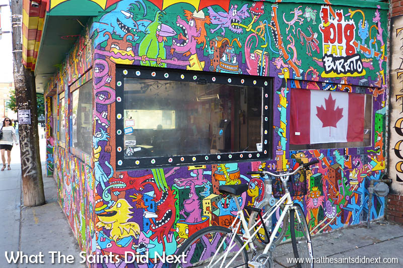 No prizes for guessing what gets sold here. How crazy is this design for Toronto's Big Fat Burrito!