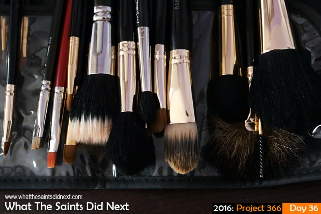 'Change of face' 5 Feb 2016, 10:04 - 1/60, f/8, ISO-1000 What The Saints Did Next - 2016 Project 366 Make up brushes.