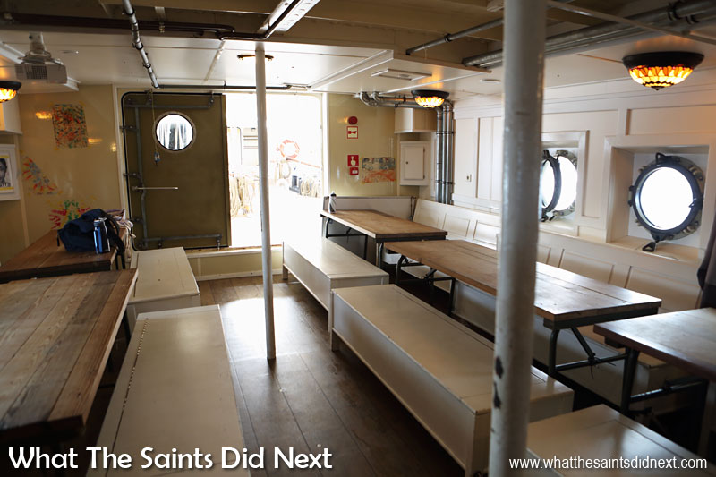 A quiet mess room on Gulden Leeuw as the students take advantage of shore leave to explore St Helena.