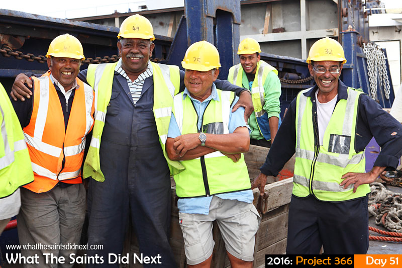 'Home time' 20 Feb 2016, 17:36 - 1/100, f/8, ISO-200 What The Saints Did Next - 2016 Project 366 Stevedores on board the RMS St Helena at the end of the work day.