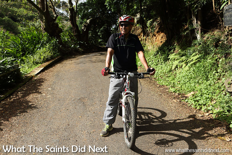 Sandy Bay resident, Jeff Francis, out for a Sunday morning cycle through the district.