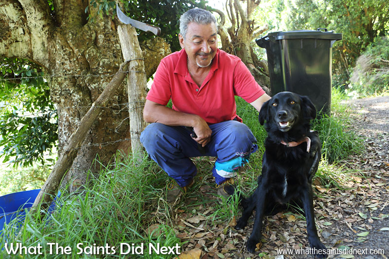 Campbell Buckley with dog, Daisy. Campbell told me not much has changed in Sandy Bay since he was a boy growing up, just a few more houses in the district.