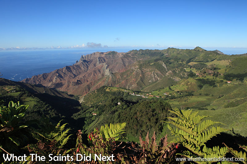 The view down over Sandy Bay from on top of Diana's Peak, the highest point on St Helena at 823m.