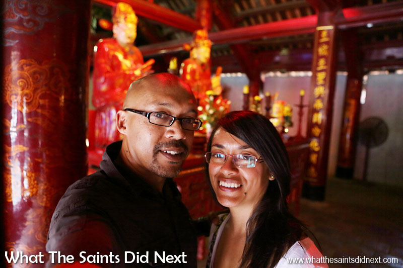 Us inside the Sage Sanctuary of the Temple of Literature.  We couldn't resist a selfie!