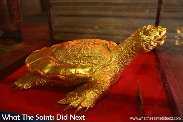 A gold plated, ceramic tortoise (God of the holy tortoise) in a glass case inside the Temple of Literature - Hanoi, Vietnam.