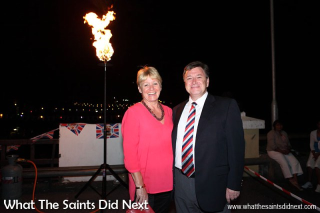 Governor Mark Capes with his wife Tamara in Jamestown, St Helena, soon after lighting one of the official beacons to celebrate the Queens Diamond Jubilee. 4 June 2012.  Governor Of St Helena Mark Capes.