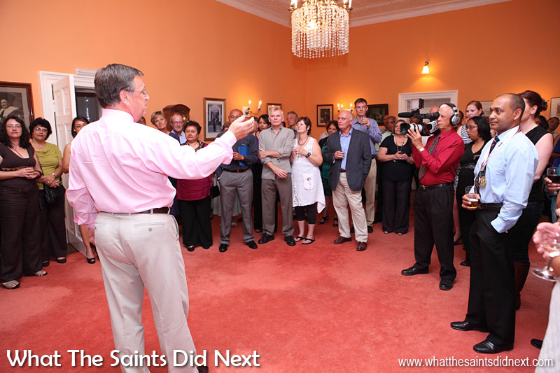 Governor Mark Capes hosting a reception at Plantation House in November 2013 to recognise the St Helena team after their medal winning achievements in the Small Island Games that year in Bermuda.  Governor Of St Helena Mark Capes.