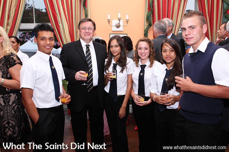 Hosting the annual party at Plantation House to celebrate the Queen's birthday. Governor Mark Capes pictured here with some of the Prince Andrew School students who were invited. 19 April, 2013.  Governor Of St Helena Mark Capes.