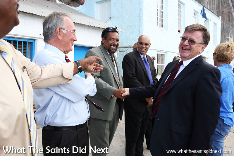 Governor Mark Capes on his final day on St Helena, sharing a humorous moment with councillors who formed the traditional line-up on the wharf to say goodbye. 18 March, 2016.  Governor Of St Helena Mark Capes.