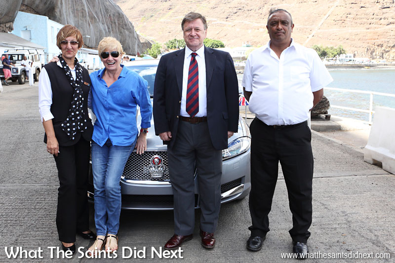 Governor Mark Capes and Tamara on departure day at the seaside, with two of the staff from Plantation, Debbie Stroud (left) and Michael Benjamin (right). 18 March, 2016.  Governor of St Helena Mark Capes.