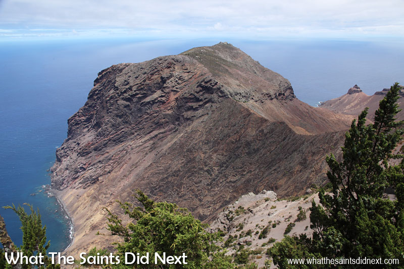 From the top of Flagstaff, St Helena, looking across to the Longwood Barn. The knobbly shape of Turks Cap is visible off to the right.