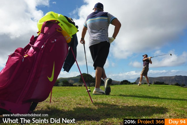 'Texas shotgun' 3 April 2016, 15:03 - 1/250, f/10, ISO-100 What The Saints Did Next - 2016 Project 366 Golfers teeing off the 8th during a round at the Longwood Golf Club, St Helena.