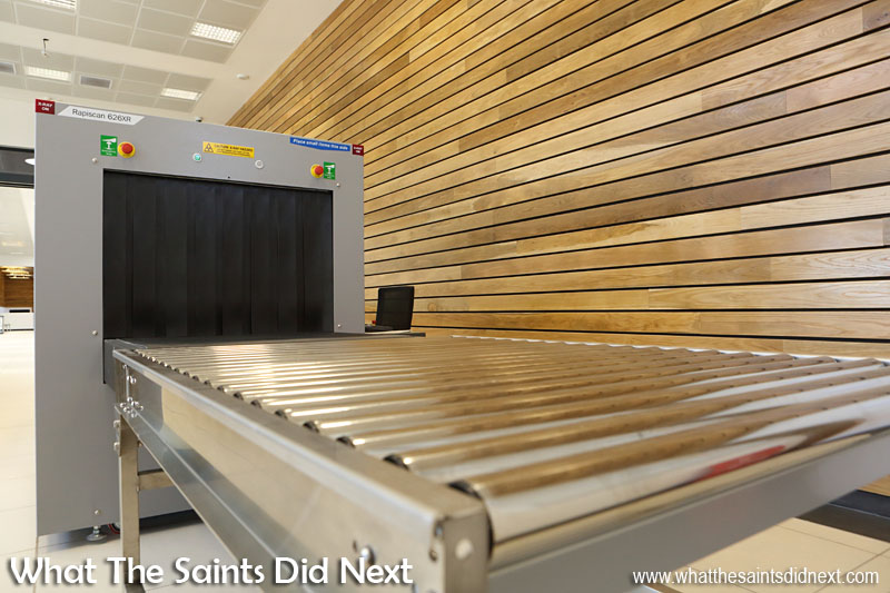 Inside the new St Helena Airport. HM Customs x-ray baggage scanner for new arrivals.