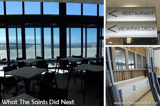 The St Helena Airport restaurant located on the first floor of the terminal with the panoramic view over the runway and apron.