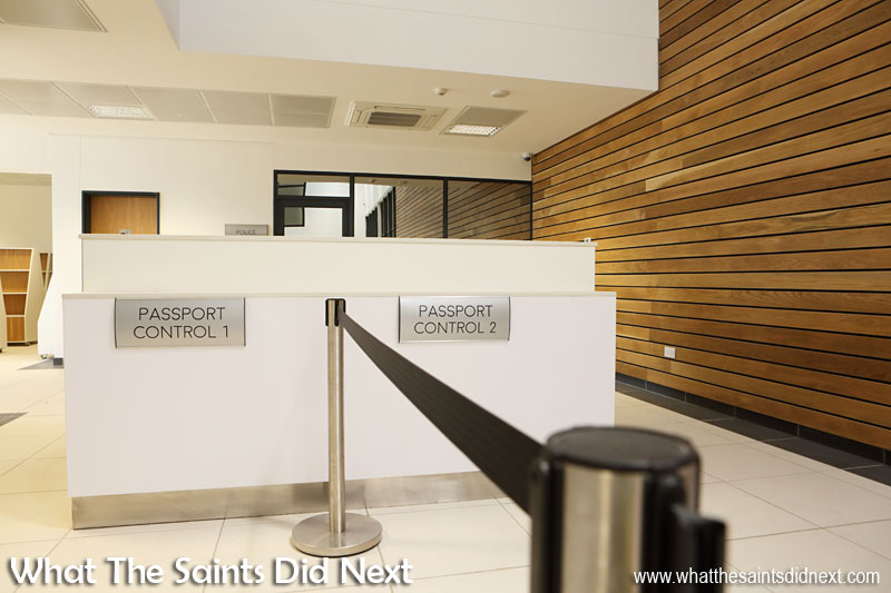 Don't forget your passport! Passport Control for departing passengers inside the St Helena Airport terminal.