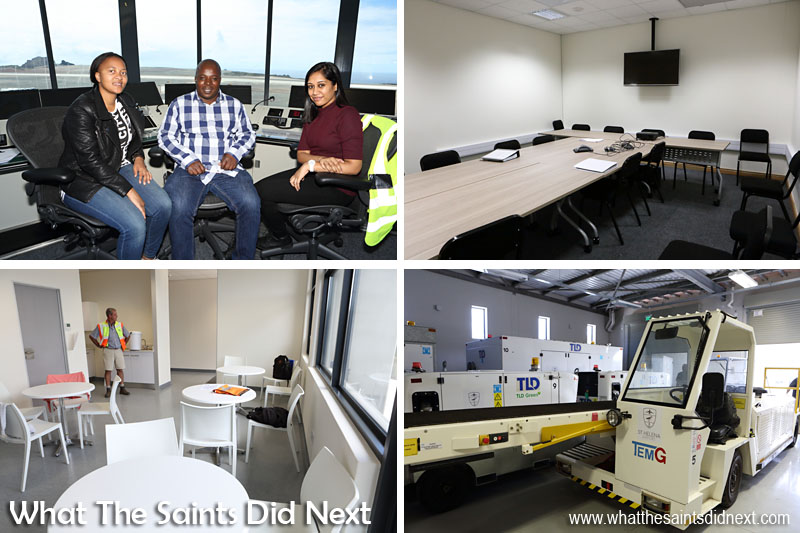 Inside the new St Helena Airport control tower with air traffic controllers, Nolwazi Mkhungo, Velly Masinga (SATCO) and Bhavna Matabadal. Training Room in the Combined Building (top right), pilots tea room (bottom left) and aircraft service vehicles.