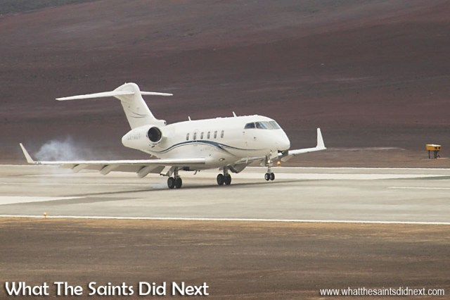 First Jet Plane Landing On St Helena touches down at precisely 11:27 on Sunday 10 April, 2016. The Bombardier Challenger 300 business jet had flown from Johannesburg in South Africa, stopping to take on fuel in Walvis Bay, Namibia before making the final 2.5 hour hop to St Helena.