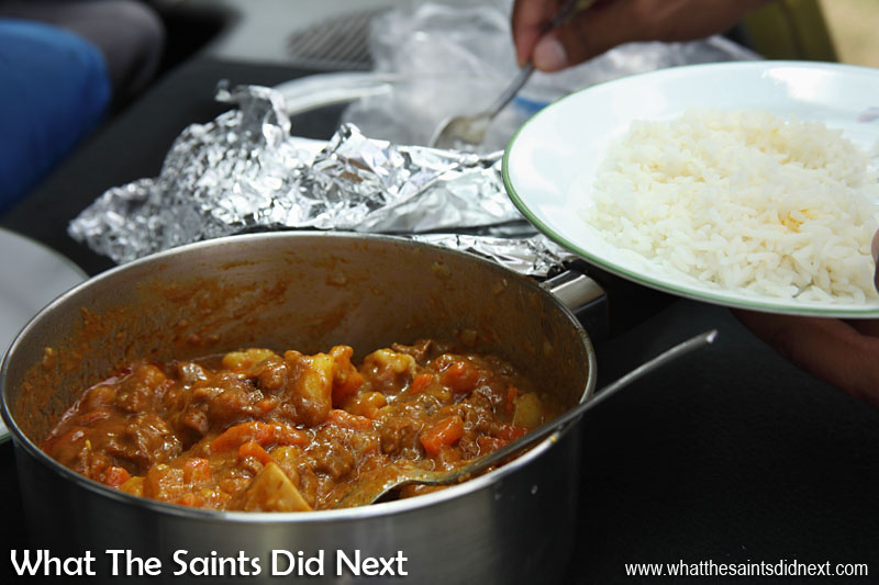 Goat meat curry and rice - a special St Helena meal for the occasion.