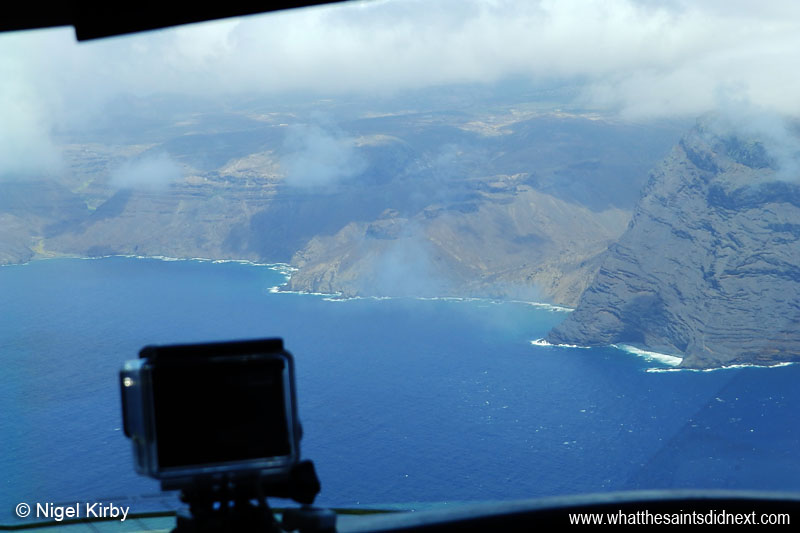 View from the cockpit onboard the Bombardier Challenger 300 on final approach to St Helena.