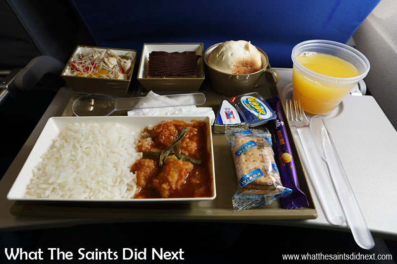 We are looking forward to seeing what all is included on the Comair flights to/from St Helena. This was the Gulf Air in-flight meal served on a long haul flight.