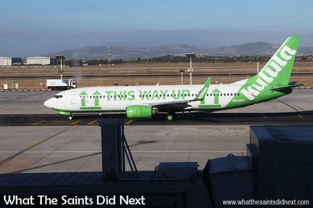 Kulula Airlines is one of SA's leading low cost airlines based on Johannesburg. It is a wholly owned low-cost subsidiary of British Airways Franchisee Comair. We photographed this aircraft at Cape Town airport.