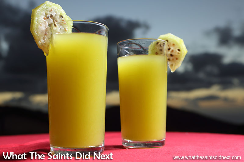 Now we're talking! Tungi juice with a little dash of vodka to go with a St Helena sunset.  How To Eat Prickly Pear Tungi.