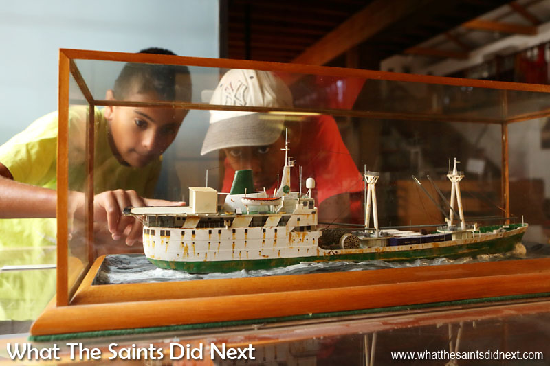 St Helena Culture - Children visiting the Museum of St Helena are fascinated by a model of the old (pre 1990) RMS St Helena. For more than 500 years sea access has been the exclusive method of travel to and from the island.