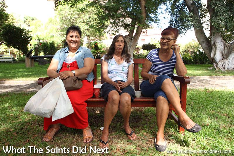 16 Pictures Celebrating St Helena Day 2016. The public benches in Castle Gardens, Jamestown, are very popular for people to relax and cool off from the midday heat. It's a very peaceful spot in the middle of the 'city' maelstrom :)