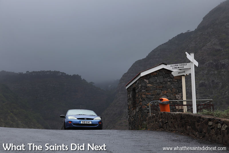 16 Pictures Celebrating St Helena Day 2016. Just to show it's not always sunny with blue skies on St Helena! A wet and dreary day at The Briars junction with the low cloud cover over St Pauls in the background.