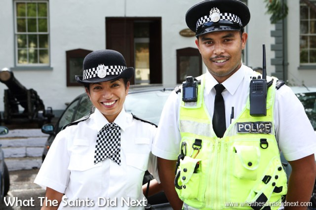 "16 Pictures Celebrating St Helena Day 2016. Saying ""hello"" to our friendly police constables on the streets of Jamestown."
