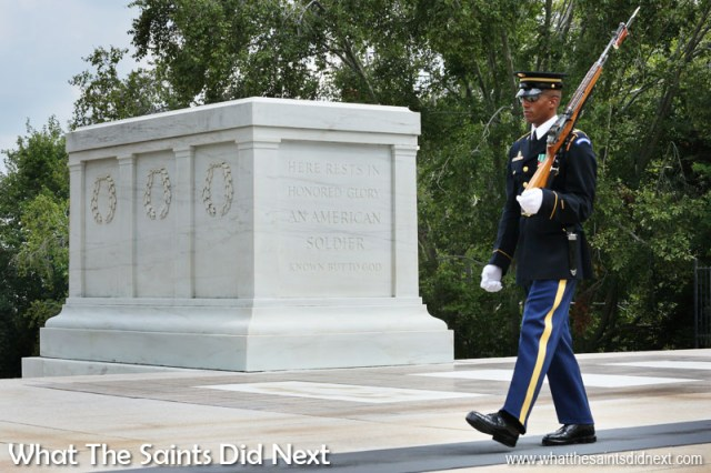 The Tomb of the Unknown Soldier is one of Arlington Cemetery's most well-known memorials. It contains the remains of unknown service members from World War I, World War II and the Korean War. Soldiers from the 3rd US Infantry Regiment (The Old Guard) keep a 24 hour-a-day, 365 days-a-year vigil at the Tomb. There is a very ceremonial changing of the guard every hour (or half hour 1 April to 30 September).