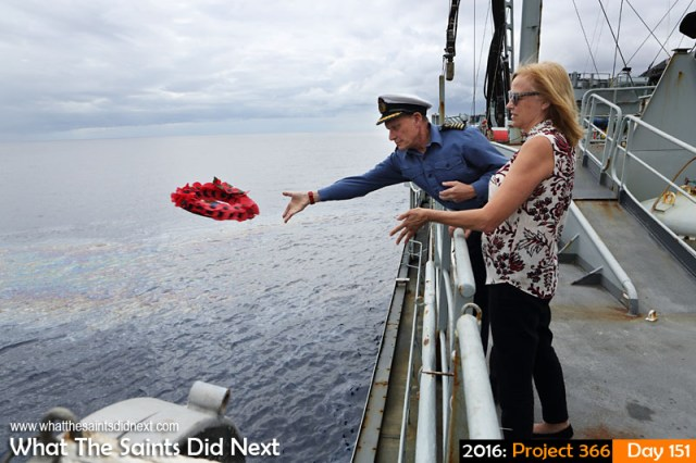 'Arlington' 30 May 2016, 13:24 - 1/500, f/8, ISO-200 What The Saints Did Next - 2016 Project 366 Governor Lisa Phillips joins the captain of RFA Gold Rover to lay a wreath of remembrance over wreck of RFA Darkdale in James Bay, St Helena.