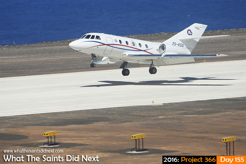 'Trust'<br /> 3 June, 2016, 13:53 - 1/800, f/8, ISO-200<br /> A Guardian Air, Dassault Falcon 20, lands to carry out the island's first medevac by air.