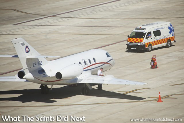 The Guardian Air, Dassault Falcon 20, air ambulance met by the St Helena Airport ambulance ready to transport the medevac team from ER24 to the Jamestown hospital.