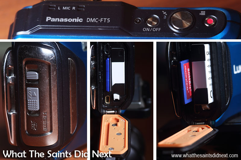 Top: the top of the Panasonic Lumix DMC-FT5 has the large shutter button flanked by the 'power' and 'video record' buttons. Bottom: the side door which when open reveals battery and SD card, USB and HDMI sockets and the thin rubber seal on the inside that locks out the water.