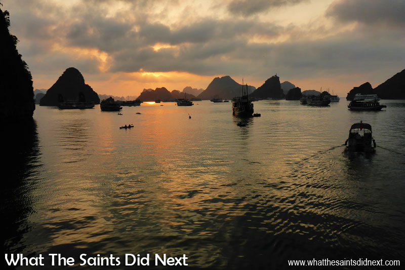 Sunset over Halong Bay, Vietnam, taken with the Panasonic Lumix DMC-FT5.