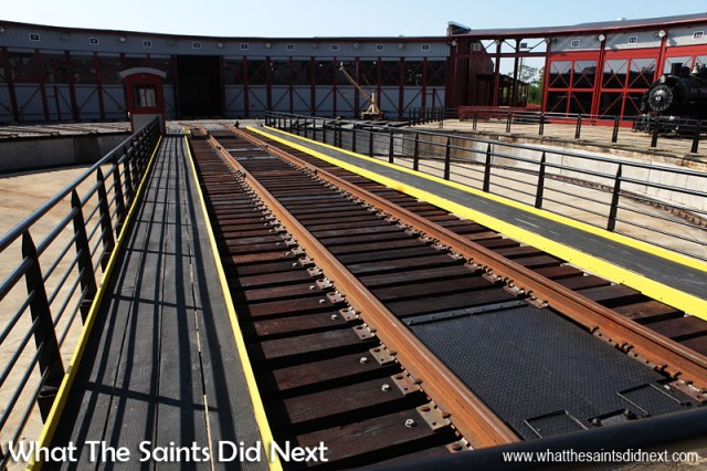 The 90 foot long track in the middle of Steamtown's turntable. The museum is built around a working turntable and a roundhouse which are largely replications of the original Scranton facilities.