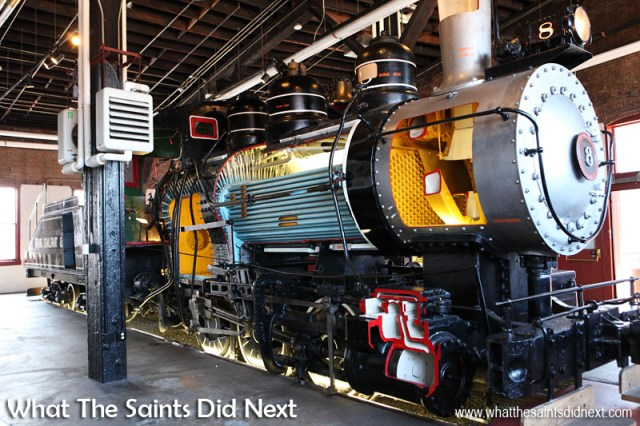 Inside the Steamtown museum, Pennsylvania, a cut-out section of a steam engine demonstrates the engineering inside of a working machine.