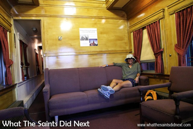 Lounging in one of the staterooms onboard Erie No.3 business class car built in 1929. Steamtown, Scranton.