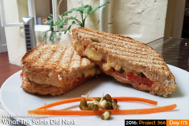'Sit-in' 23 June 2016, 13:43 - 1/33, f/2.4, ISO-50 - Samsung Galaxy A3 What The Saints Did Next - 2016 Project 366 Toasted sandwich at the Inkwell Coffee Shop, Jamestown, St Helena.