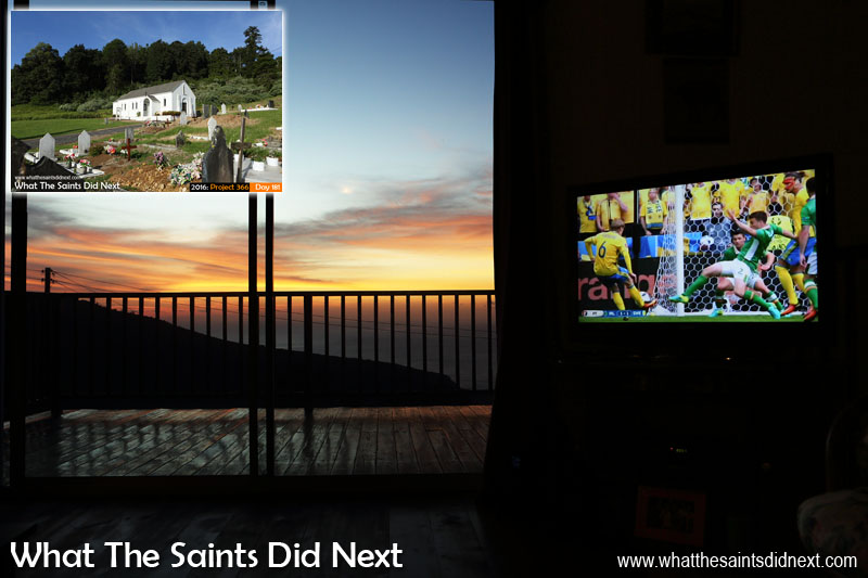 Day 165 of Project 366, was a glorious weather day on St Helena which prompted us to take the camera out for the afternoon. The picture of St Helena and the Cross church made the cut from a huge selection, but this sunset view out the window while watching Euro 2016 later in the evening was a close second.