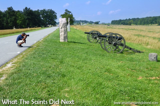 Field guns and monuments are everywhere along the Gettysburg battlefield route. This is up on McPherson Ridge, stop no.1.  The Battle of Gettysburg.