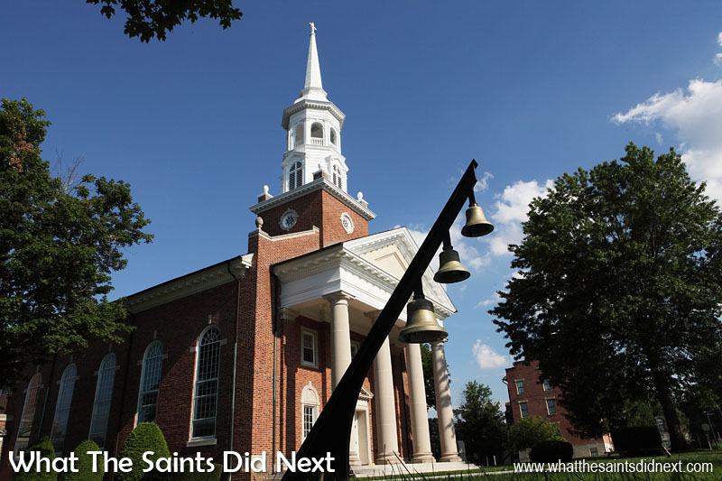 """Emanuel Bell Tower on Seminary Ridge, a new addition (2014) to the Gettysburg National Military Park. The bells, forged in 1869, were rescued from the Emanuel Lutheran Church in Philadelphia when it was likely to be demolished. They were restored and erected here in Gettysburg and dedicated on 29 October 2014 to """"the veterans and missionaries who have served the greater mission of peace around the world."""" The new installation includes electronic strikers."""