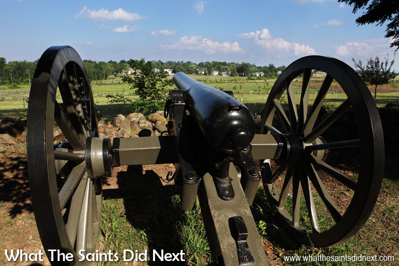 Another model 1857 'Napoleon' field artillery gun on display in the Battle of Gettysburg fields.