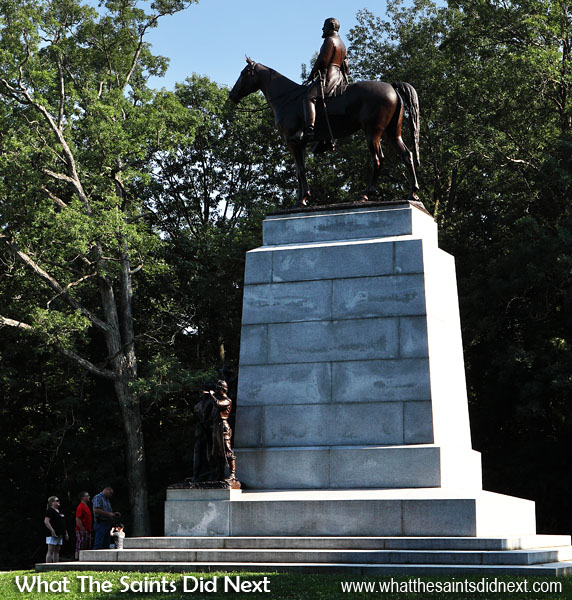 "Virginia Memorial in Gettysburg, at stop no.5 along Seminary Ridge, depicting General Robert E Lee mounted on ""Traveller."""