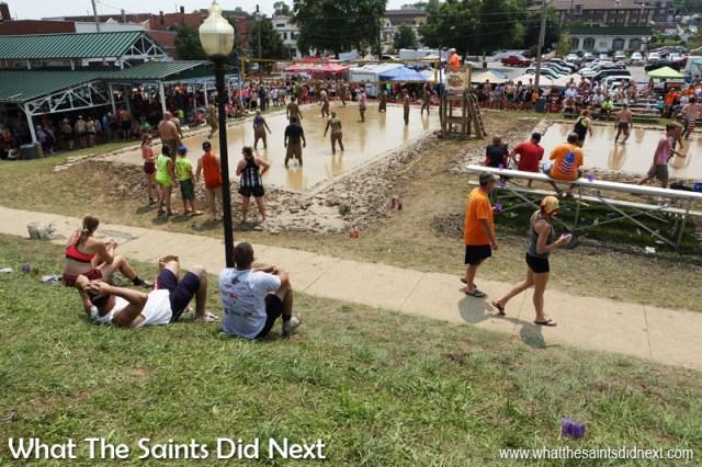 Annual Mississippi Mud Volleyball Tournament underway in Hannibal, Missouri.