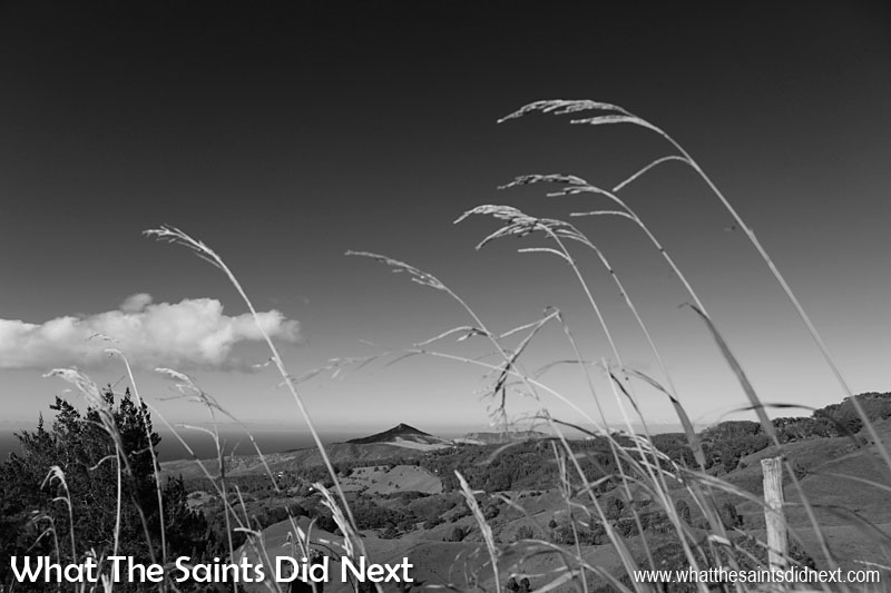 Recognising colour tones when shooting black and white photography and how they translate is a useful skill. The deep blue sky above St Helena in this picture translates to a lovely black, offset by the cloud textures and foreground strands of grass.