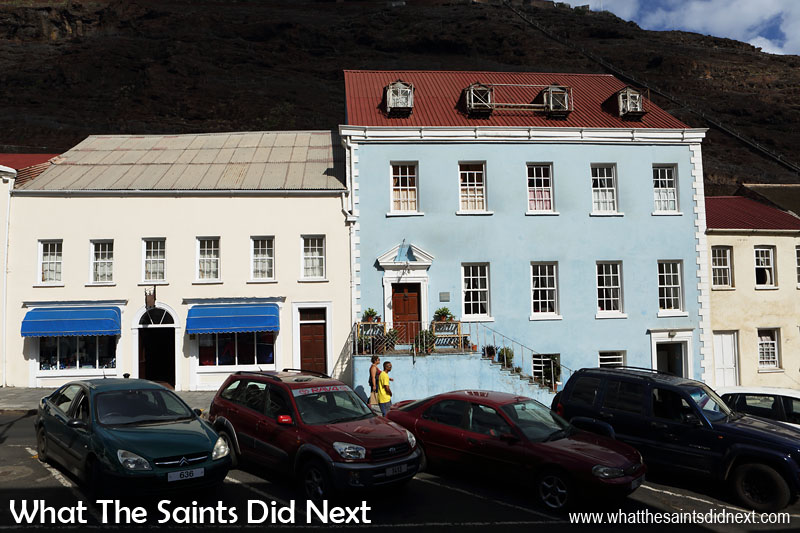 Wellington House (blue building) is a locally owned hotel on the Main Street of Jamestown. It is named after the Duke of Wellington who visited St Helena in the early 19th century but it is unclear whether he actually stayed here.