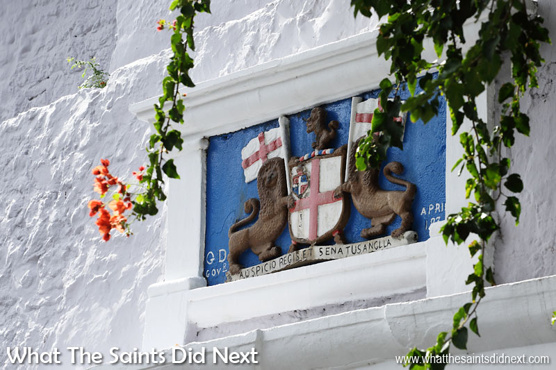 The Castle in Jamestown is home to the government of St Helena. The coat of arms, dated 1834, above the entranceway belongs to the last East India Company Governor, Charles Dallas.